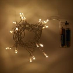 Karácsonyi LED mini fényfüzér 20LED beltéri MelegFehér fehér vezetékkel (elem nem tartozék)