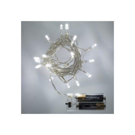 Karácsonyi LED mini fényfüzér 30LED beltéri HidegFehér fehér vezetékkel (elem nem tartozék)
