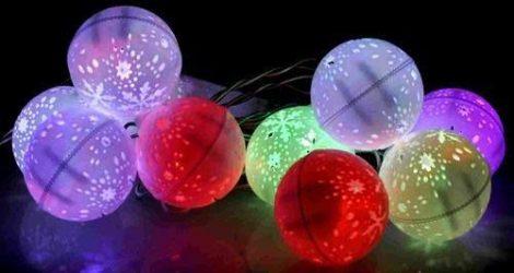 Karácsonyi LED füzér hólabda RGB/bel-, kültéri  2év garancia