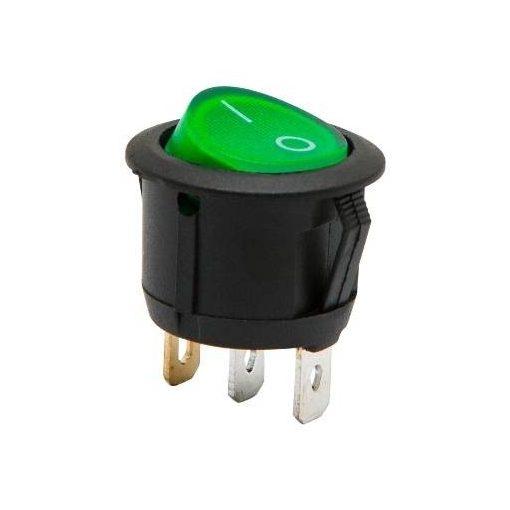 Kapcsoló 12V kerek zöld világító Fekete