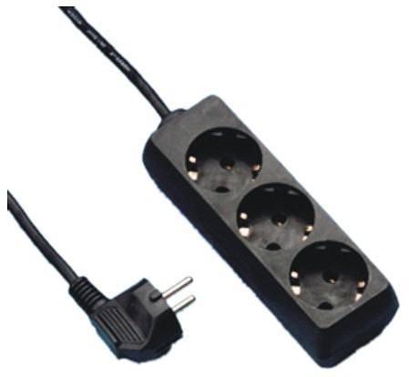 Elosztó 3-as 1,5m vezetékkel kapcsolóval Fekete