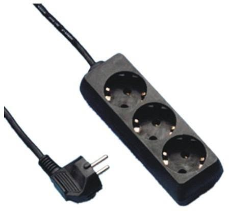 Elosztó 3-as 3m vezetékkel Fekete