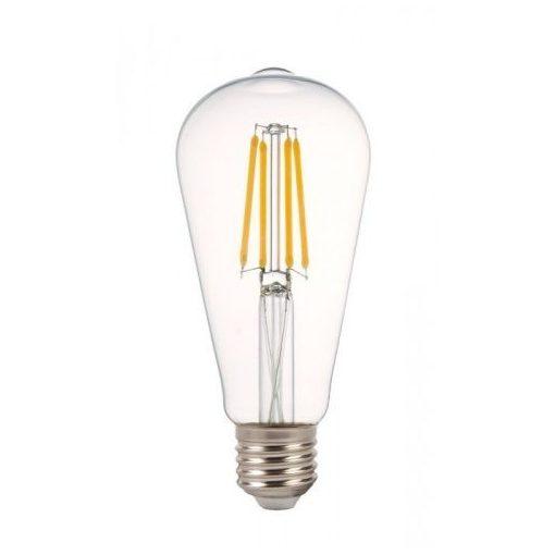 LED Filament körte 8W E27 360° MelegFehér átlátszó búra 2700K, 880 lumen 2 év garancia