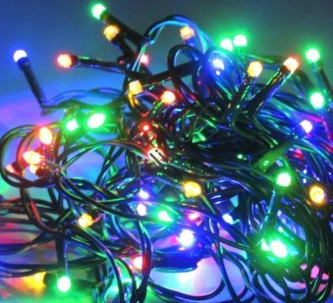 Karácsonyi LED fényfüzér 100LED RGB beltéri zöld vezetékkel 230V