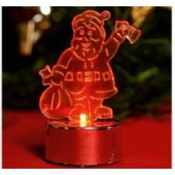 Karácsonyi LED mécses világító Mikulás (elem tartozék)