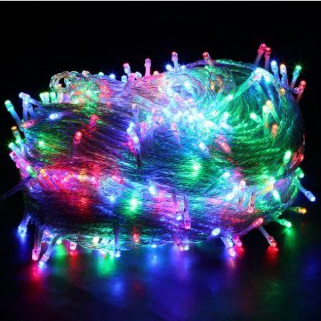Karácsonyi LED fényfüzér 140LED RGB bel -és kültéri átlátszó vezetékkel 230V