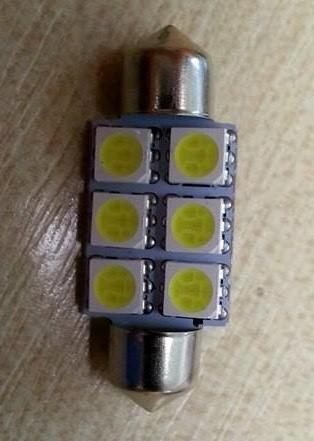 LED autós sofita rendszám,- és belsőtér világitás A6L5050 36mm HidegFehér 1 év garancia