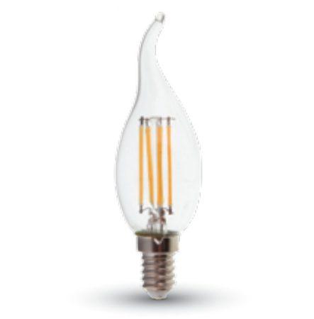 LED gyertya égő Filament 4W E14 KözépFehér/4000 K, 420-450 lumen  átlátszó búra,hegyes 3 év garancia