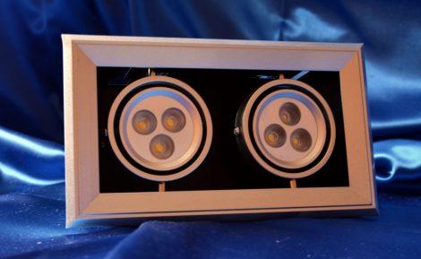 LED mélysugárzó dobozos 2x3W MelegFehér/2700 K, 540 lumen 5 év garancia