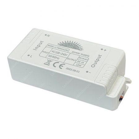 LED trafó 12V IP20 12W / műanyag 2 év garancia