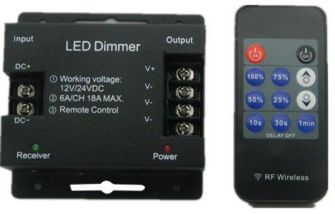 LED vezérlő fényerőszabályzó távirányítóval rádiós 216W 2 év garancia